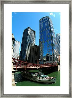 Chicago River - Chicago Boat Tour Framed Print by Dmitriy Margolin