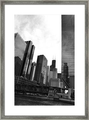 Chicago River And Willis Tower Framed Print