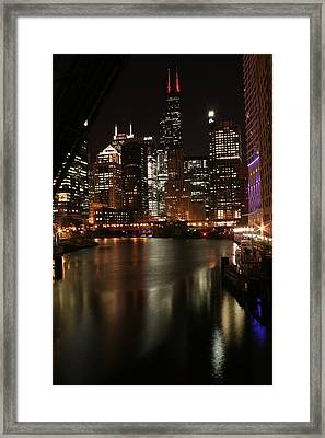 Chicago River At Night Framed Print by Christopher Purcell