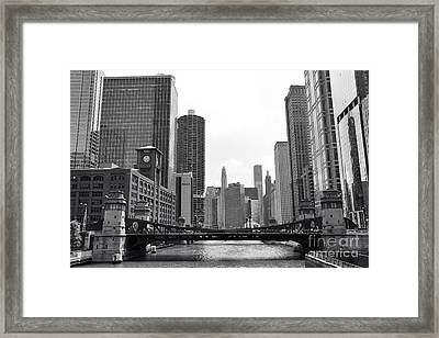 Chicago River Black And White Framed Print by Michael Paskvan