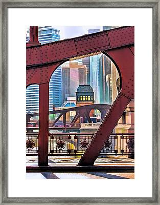 Framed Print featuring the painting Chicago River Bridge Framed by Christopher Arndt