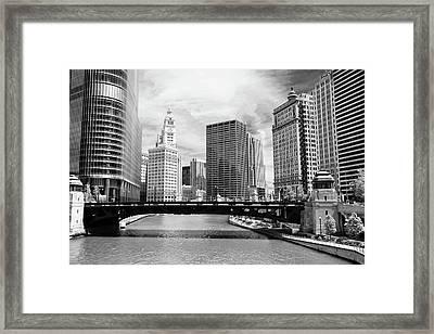 Chicago River Buildings Skyline Framed Print
