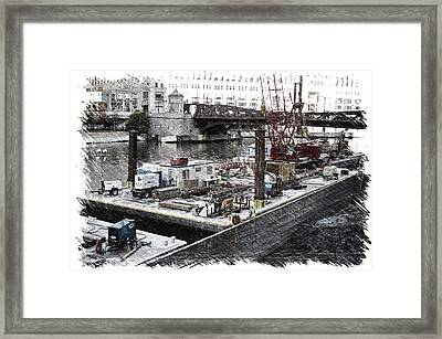 Chicago River Construction Barge Pa 04 Framed Print by Thomas Woolworth