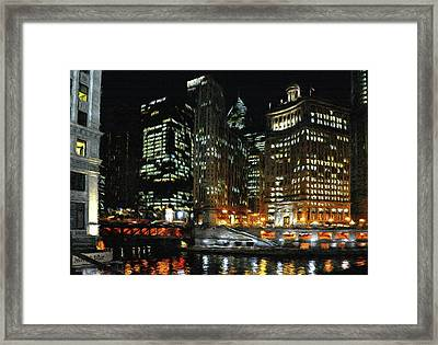 Chicago River Crossing Framed Print by Jeff Kolker