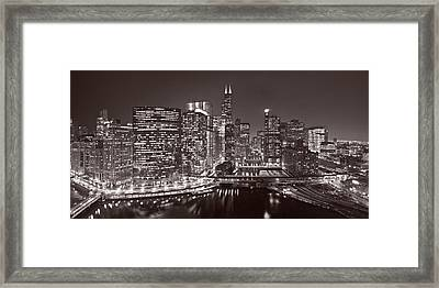 Chicago River Panorama B W Framed Print