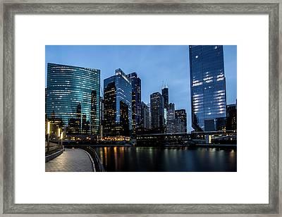 Chicago River Scene At Dusk  Framed Print by Sven Brogren