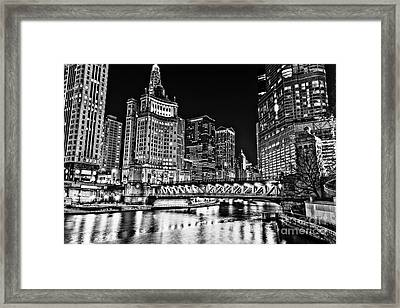 Chicago River Skyline At Night Picture Framed Print by Paul Velgos