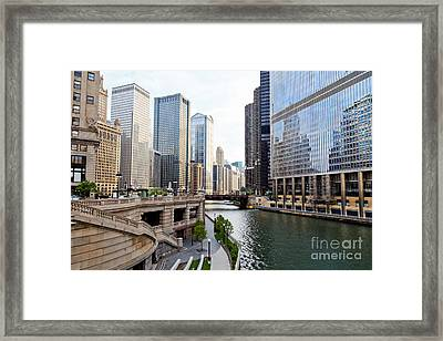 Chicago River Skyline Building Architecture Framed Print by Paul Velgos