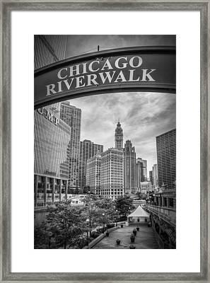 Chicago River Walk Black And White Framed Print