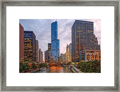 Chicago Riverwalk Equitable Wrigley Building And Trump International Tower And Hotel At Sunset  Framed Print