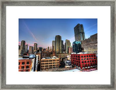 Framed Print featuring the photograph Chicago Rooftop And Sunset by Shawn Everhart