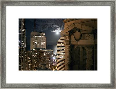 Chicago Rooftop On Moonlit Night Framed Print by Christopher Purcell