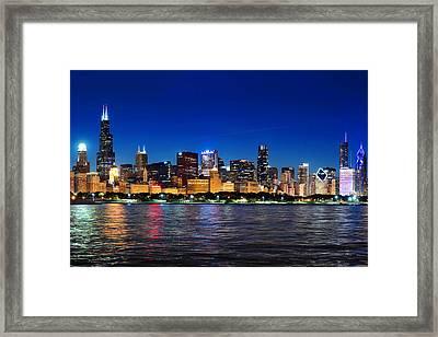 Chicago Shorline At Night Framed Print