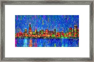 Chicago Skyline 200 - Pa Framed Print by Leonardo Digenio