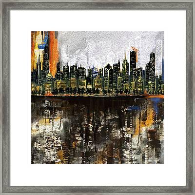 Chicago Skyline 201 1  Framed Print by Mawra Tahreem