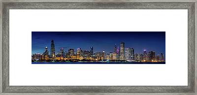 Framed Print featuring the photograph Chicago Skyline After Sunset by Emmanuel Panagiotakis