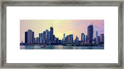 Chicago Skyline And Chicago River Framed Print