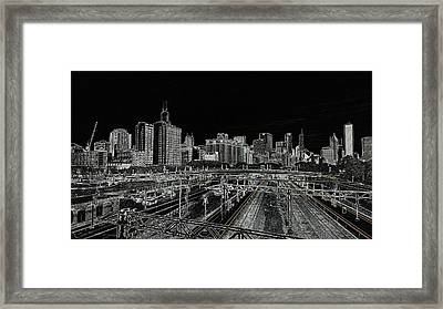 Chicago Skyline And Tracks Framed Print
