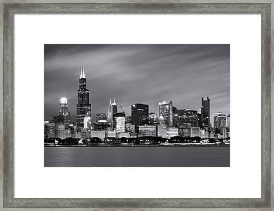 Chicago Skyline At Night Black And White  Framed Print by Adam Romanowicz