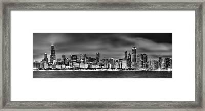 Chicago Skyline At Night Black And White Framed Print