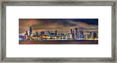 Chicago Skyline At Night Panorama Color 1 To 3 Ratio Framed Print by Jon Holiday