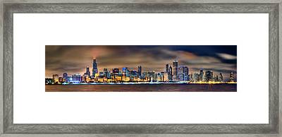 Chicago Skyline At Night Panorama Framed Print by Jon Holiday