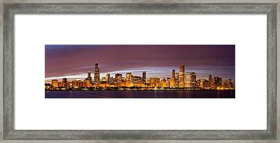 Chicago Skyline At Night Framed Print by Twenty Two North Photography