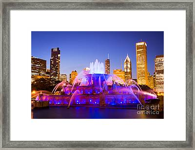 Chicago Skyline At Night With Buckingham Fountain Framed Print by Paul Velgos