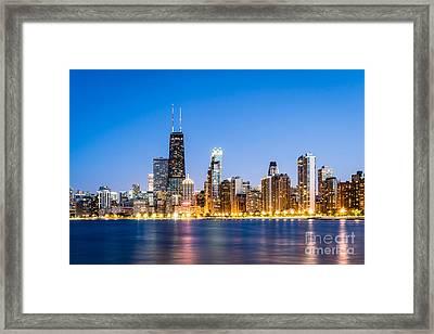 Chicago Skyline At Twilight Framed Print by Paul Velgos