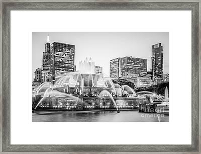 Chicago Skyline Black And White Photography Framed Print