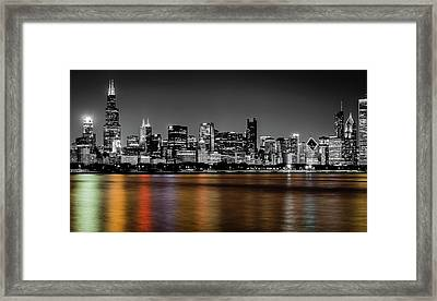 Chicago Skyline - Black And White With Color Reflection Framed Print