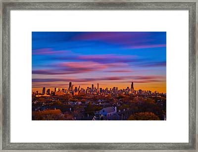 Chicago Skyline Blend Framed Print by Steve Kuzminski