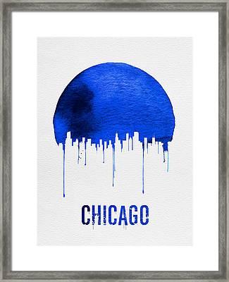 Chicago Skyline Blue Framed Print by Naxart Studio