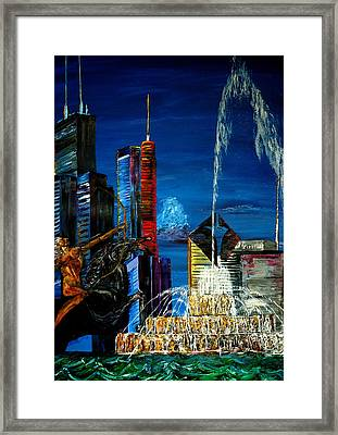 Chicago Skyline Buckingham Fountain Sears Tower Trump Tower Aon Building Framed Print by Chicago Oil Paintings By Gregory A Page