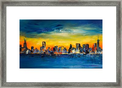 Chicago Skyline Framed Print by Elise Palmigiani