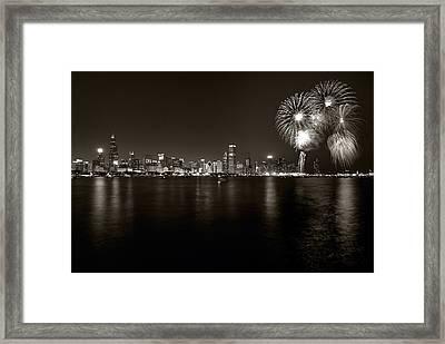 Chicago Skyline Fireworks Bw Framed Print