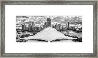 Framed Print featuring the photograph Chicago Skyline From Navy Pier Black And White by Adam Romanowicz