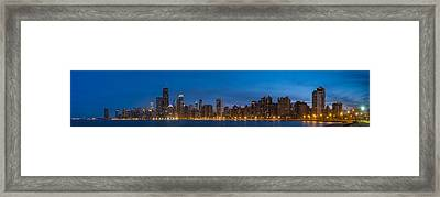 Chicago Skyline From North Ave Beach Panorama Framed Print by Steve Gadomski