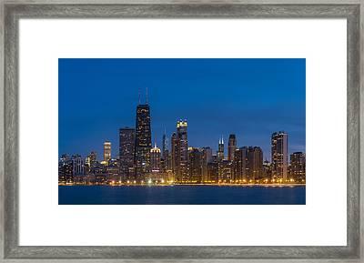 Chicago Skyline From North Ave Beach Framed Print by Steve Gadomski