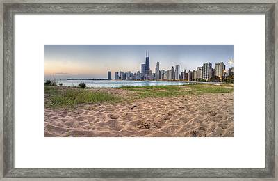 Chicago Skyline From North Beach Framed Print by Twenty Two North Photography