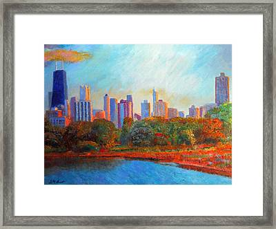 Chicago Skyline From The Lagoon Framed Print by Michael Durst