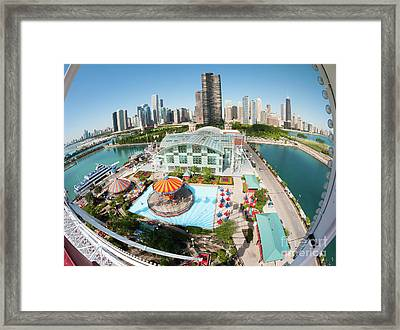 Chicago Skyline From The Navy Pier Ferris Wheel Framed Print by Felix Choo