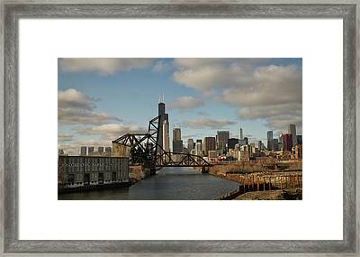 Chicago Skyline From The South Branch Framed Print by Sheryl Thomas