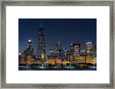 Framed Print featuring the photograph Chicago Skyline Go Gubs  by Emmanuel Panagiotakis