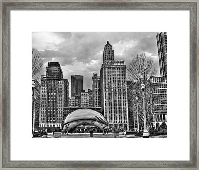 Chicago Skyline In Black And White Framed Print