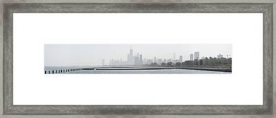 Chicago Skyline In Fog Framed Print