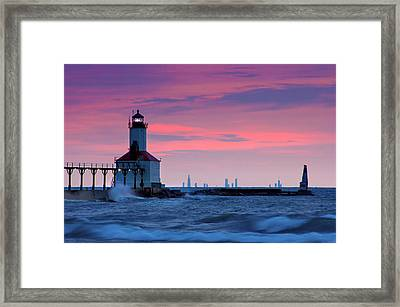 Chicago Skyline Lighthouse Framed Print