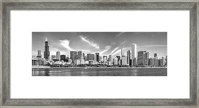 Chicago Skyline Panorama Black And White Framed Print by Christopher Arndt