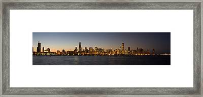 Chicago Skyline Panorama Framed Print by Steve Gadomski