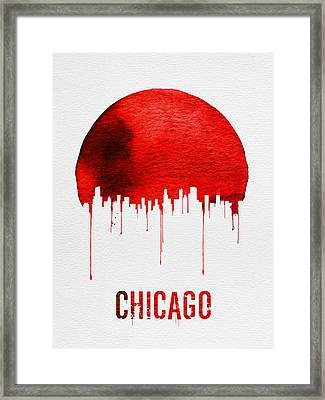Chicago Skyline Red Framed Print by Naxart Studio